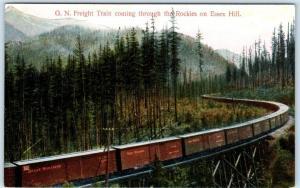 GREAT NORTHERN Railroad Freight Car in Rockies ESSEX HILL, MT  c1910s   Postcard