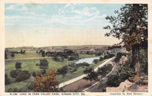 Kansas City Missouri~Lake In Penn Valley Park~1920 Postcard