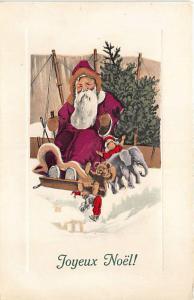 Christmas Purple Suited Santa Claus Sled Stuffed Animals Belgium Postcard