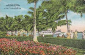 Florida Miami Bayfront Park Winter Scene 1939