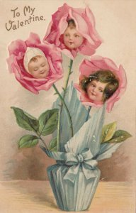 To My VALENTINE, 1901-07; Vase with three roses with children's heads