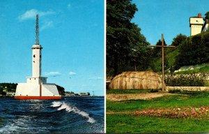 Michigan Mackinac Island Lighthouse & Replica Of Early Missionary Chapel