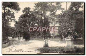 Old Postcard Arcachon Place Bremontier and Villa Trocadero