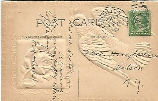 Powder Blue Bluebird Birthday Greeting Antique Embossed Vintage Postcard