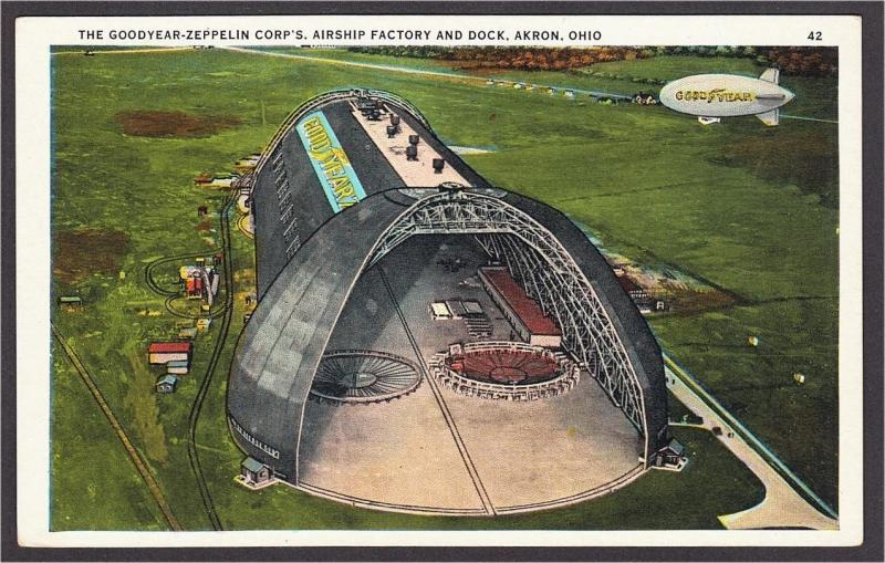Goodyear Zeppelin Corp Airship Factory and Dock Akron Ohio Postcard 1920s #3