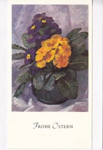 Frohe Ostern, Primeln in Vase, unused Postcard