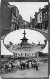 Ashford The Fountain Victoria Park The Cattle Market North Street Postcard