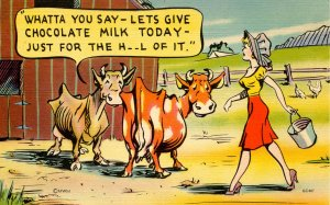 Humor - Let's give chocolate milk today…  Cows