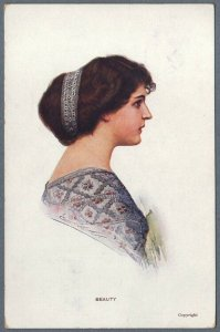 Old Postcard Beautiful Girl Postrait by Curt Voelker ~ Beauty ~ Paul Bendix NY