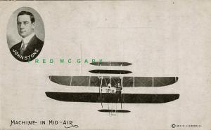 1910 Pioneer Aviation Postcard: Johnstone in Mid-Air & Portrait (Godshall)