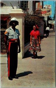 1960s JAMAICA Postcard Policeman in Colorful Uniform Street View Dexter Chrome