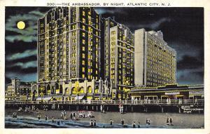 Atlantic City New Jersey~Ambassador Hotel Night Lights~Boardwalk Shops~Moon~1930
