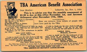 Lafayette, Louisiana Mail Order Advertising Postcard TBA American Benefit Assoc.