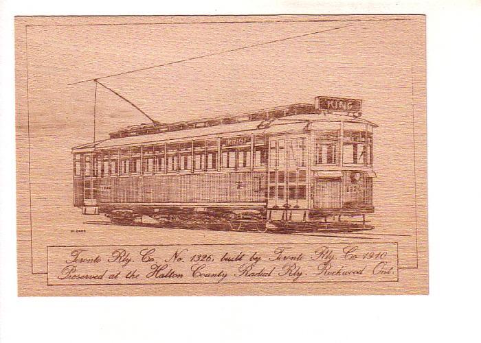 Toronto Railway Co 1326, Halton County Radial, Sketch on Thin Wood Slab