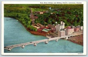 Lawrence Kansas~Kaw River Bridge~Birdseye Milling District Factories~1947 Linen