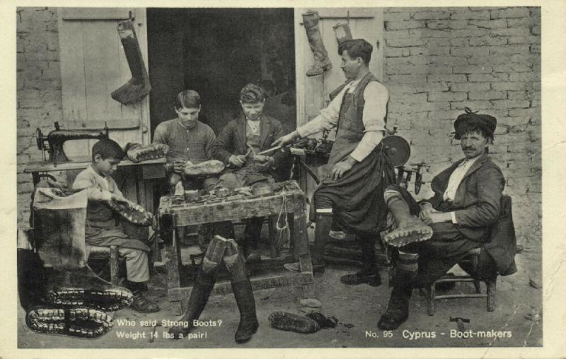 cyprus, Native Boot-Makers at Work (1930s)