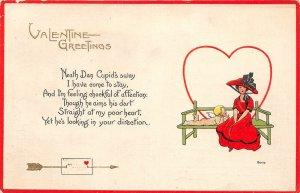 F38/ Valentine's Day Love Holiday Postcard c1914 Aultman Ohio Cupid Large Hat 4