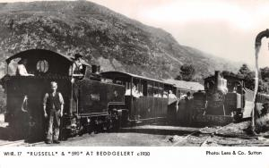 Real Photo Postcard WHR 2-6-2T Russell & 590 at Beddgelert c1930 #11172 WHR.17