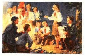 Pioneers Hike Stories around the fire Socialist Realism Russian postcard