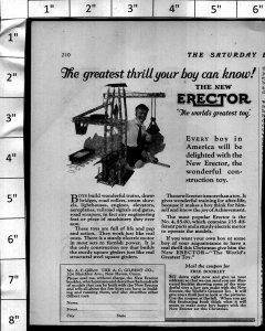 1924 Erector Set Toy Crane Boy Playing Vintage Print Ad 4008