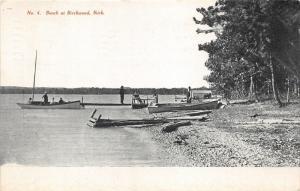 Birchwood Michigan~Beach Scene on Grand Travere Bay~People~Boats~1911 Postcard