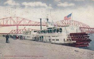 WINONA, Minnesota, 1910; Excursion Boats and Bridge