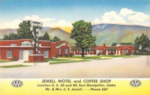 Jewell Motel and Coffee Shop  East Montpelier  idaho L3046 Antique Postcard