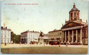 Vintage Brussels, BELGIUM Postcard The Royal Palace w/ 1913 Cancel