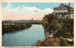 Chattanooga, TN, Bluff View from County Bridge, 1919 Vintage Postcard g9046