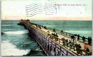 Long Beach, California Postcard Pleasure Pier w/ 1912 Ocean Park Cancel