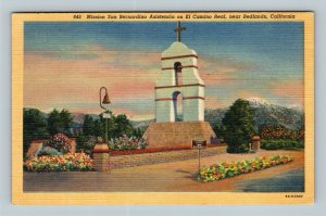 Redlands CA, Mission San Bernardino Asistencia, Linen California c1953 Postcard