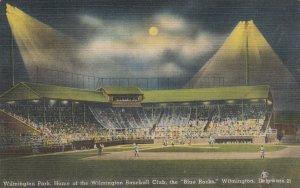 WILMINGTON, Delaware, 1930s; Blue Rocks Baseball Stadium at night