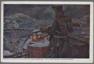 Folk Song Postcard German Soldier on Guard by Hans Baluschek