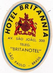Brasil Sao Paulo Hotel Britannia Vintage Luggage Label sk3986