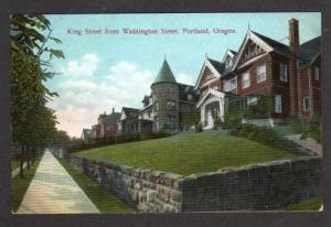 OR View King St Houses PORTLAND OREGON Postcard PC