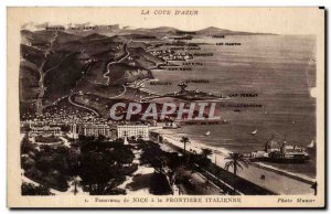 Old Postcard La Cote D & # 39azur Panorama Nice A La Frontiere Italian