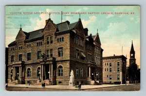 Paducah, KY-Kentucky, Post Office, Baptist Church, Vintage c1911 Postcard