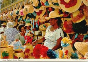Straw Market Nassau Bahamas Women Child Hats UNUSED Postcard D94