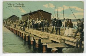 Fishing on the Docks St Petersburg Florida 1910c postcard