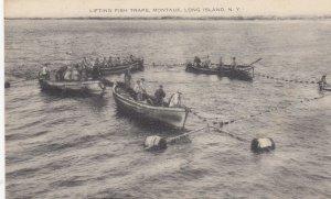 MANTOUK , L. I. , New York , 1910s-30s ; Lifting Fish Traps