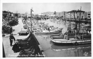 Fisherman's Wharf San Francisco California 1940s RPPC Postcard Piggott 3659