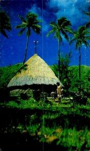 CE0847 new caledonia noumea melanesian dwelling palm types ethnics pacific ocean