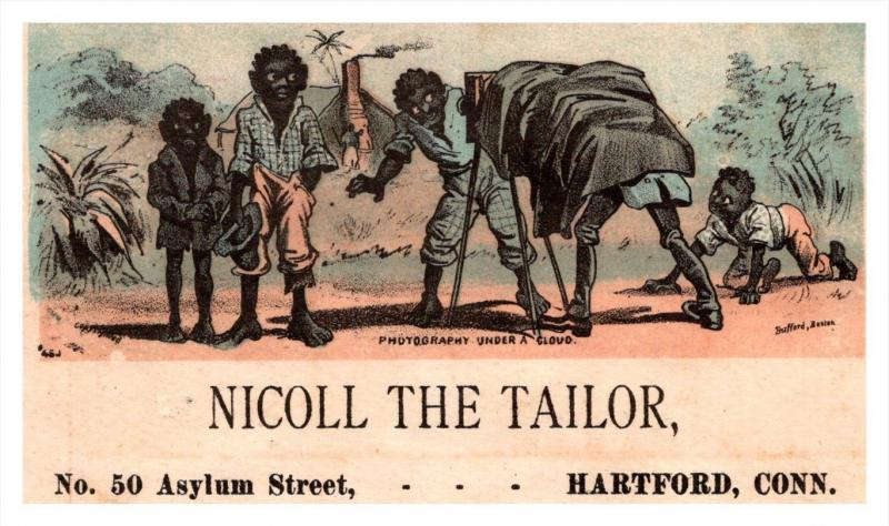13107 Trade Card  Blacks Americana Photographer  CT  Hartford  Nicoll the Tailor