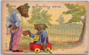 Vintage Greetings Postcard Bear w/ No Legs It Was a Touching Scene c1910s
