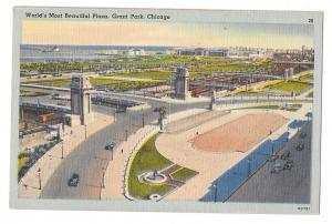 Chicago IL Grant Park Worlds Most Beautiful Plaza Vtg Linen Postcard Tichnor