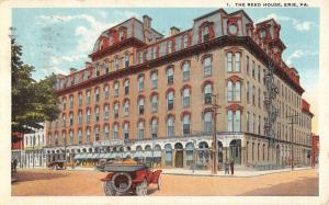 Erie Pennsylvania Reed House Street View Linen Antique Postcard K15239