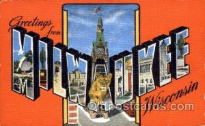 Greetings From Milwaukee, Wisconsin, USA Large Letter Town Unused light wear ...