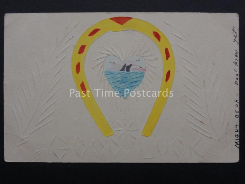 HAND SCOURED & COLOURED/PAINTED Good Luck Greeting HORSE SHOE c1910