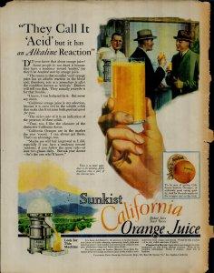 1927 Sunkist California Orange Juice They Call It Acid Vintage Print Ad 3867