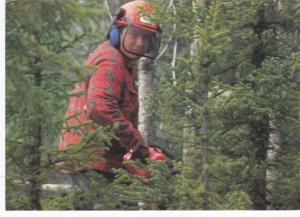 Le respect du milleu, Lumberman surprised about to chainsaw a tree down, 50-70s